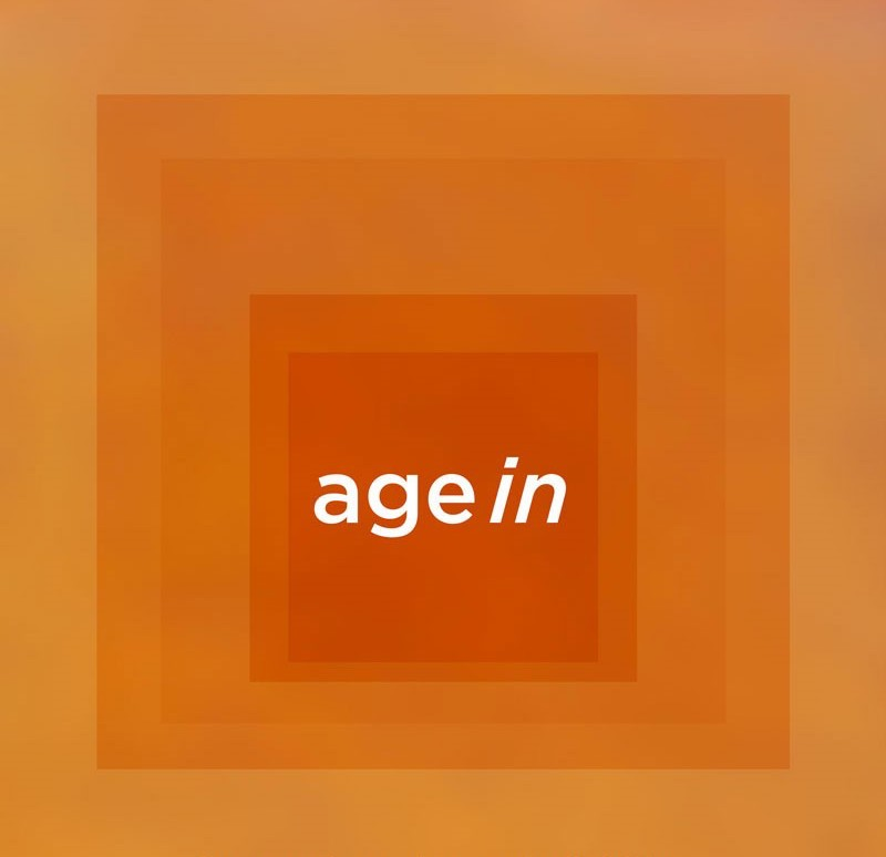 The agein logo, a deep orange square in the center fading to a less-saturated orange color as it spreads outwards.