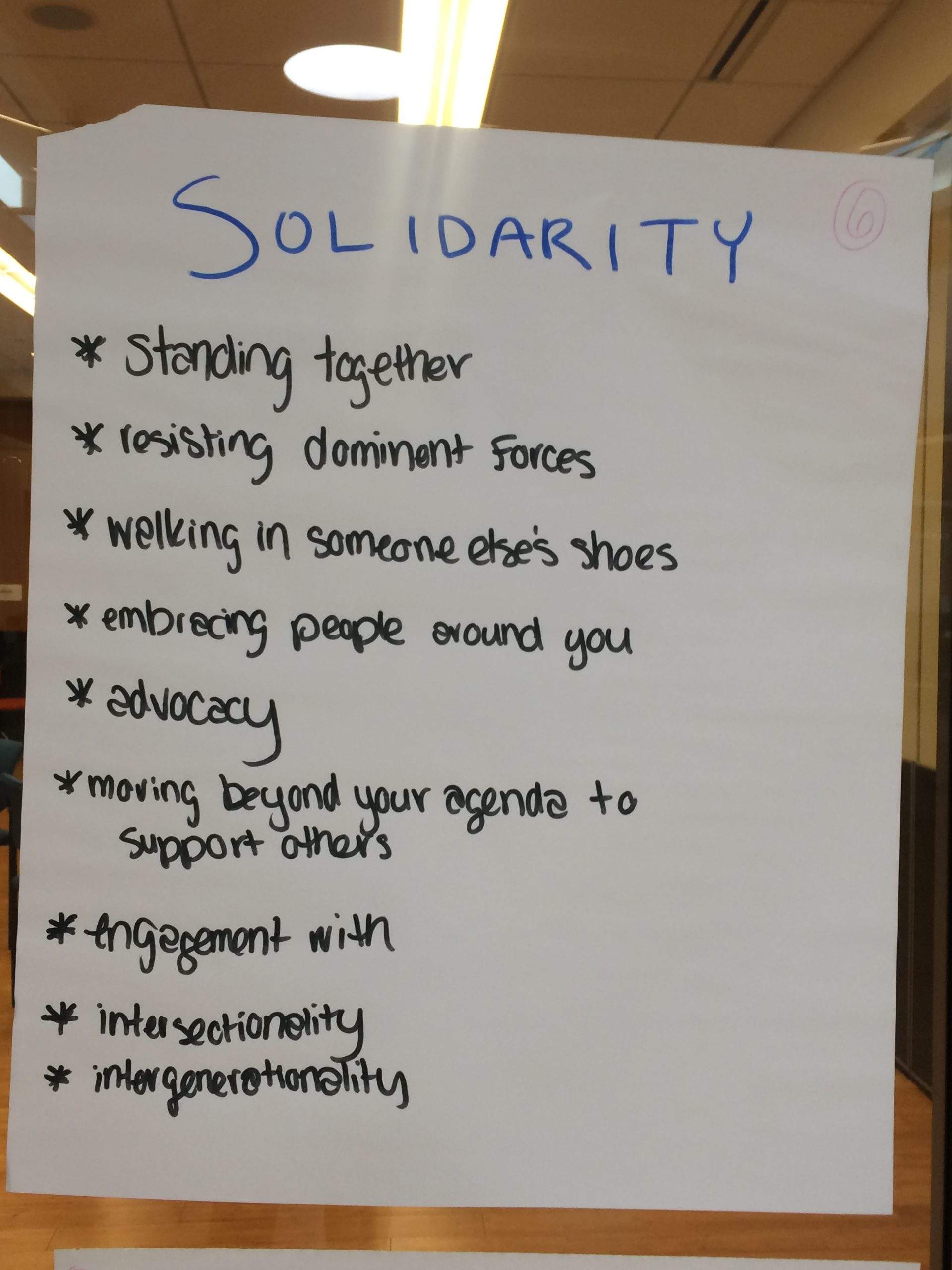 "Interactive activity titled ""Solidarity"", completed on poster paper at the June 2019 agein."