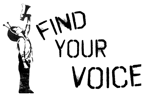 "Image of a small boy with a megaphone, accompanied by text that reads ""find your voice""."