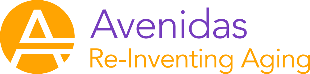 "Logo of ""Avenidas"", featuring a stylized letter ""A"" and the subtitle ""Re-Inventing Aging""."