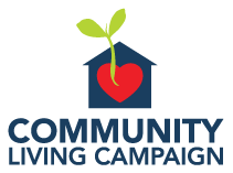 "Logo of ""Community Living Campaign"", featuring a heart inside a house with a plant sprouting outwards from the heart."