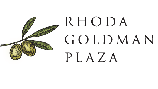 "Logo of ""Rhoda Goldman Plaza"", featuring an olive branch."