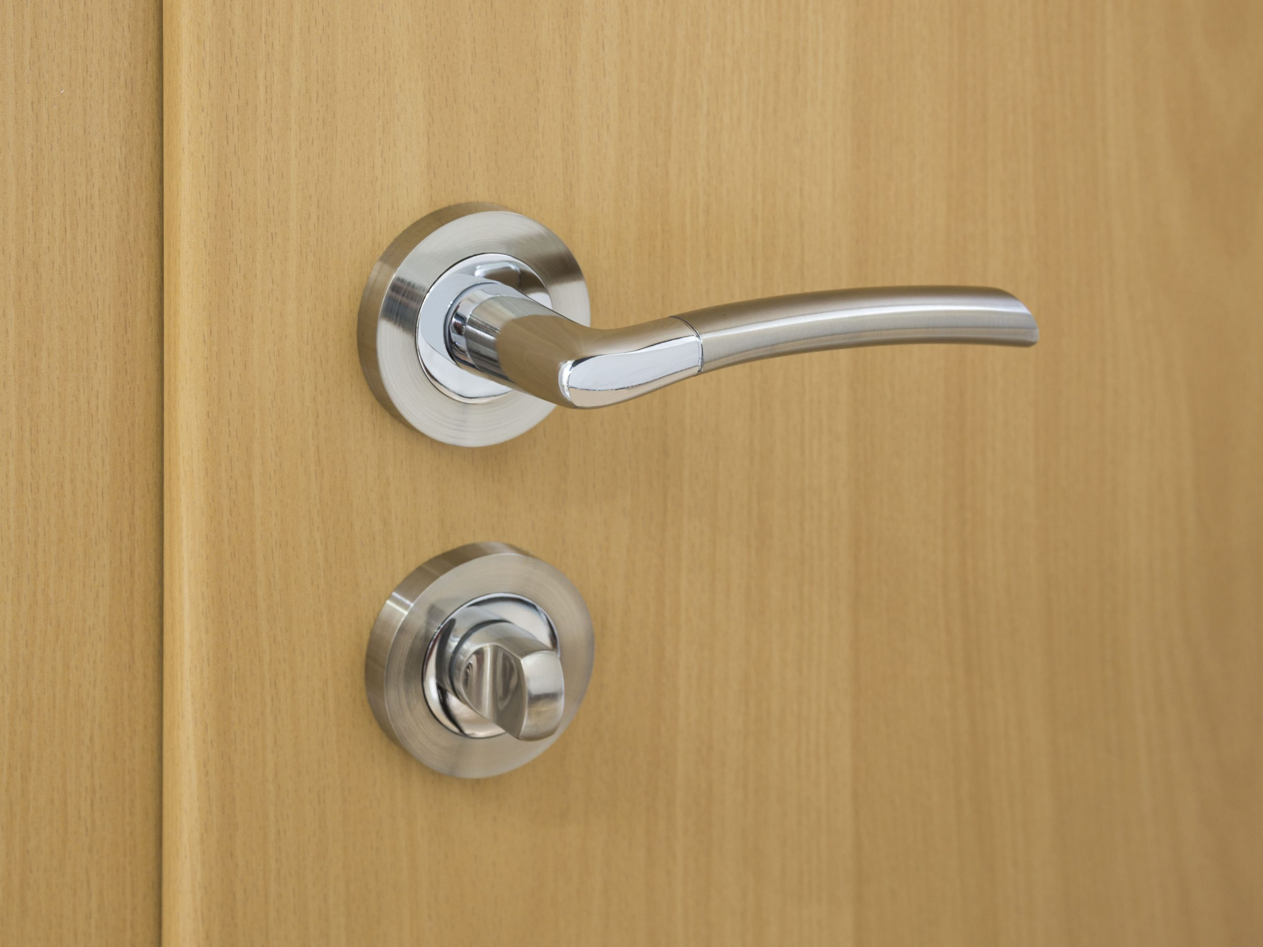 A lever door handle.